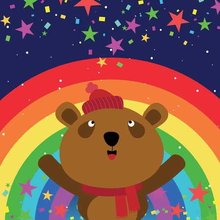 Brown bear in the night sky with rainbow Vector