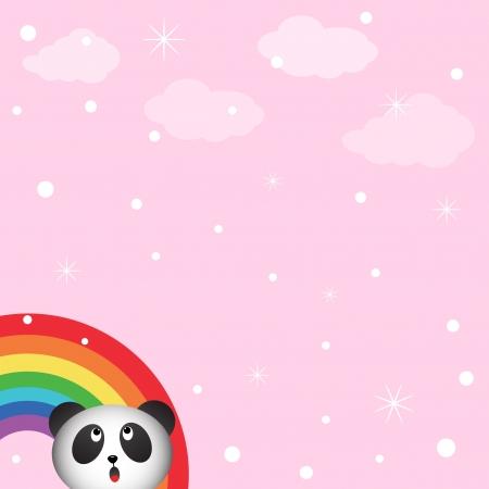 catoon: Panda in the sky with rainbow