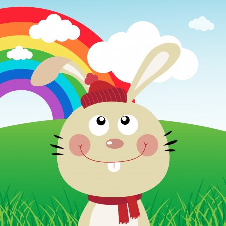 Rabbit with rainbow in the forest Stock Vector - 19097507