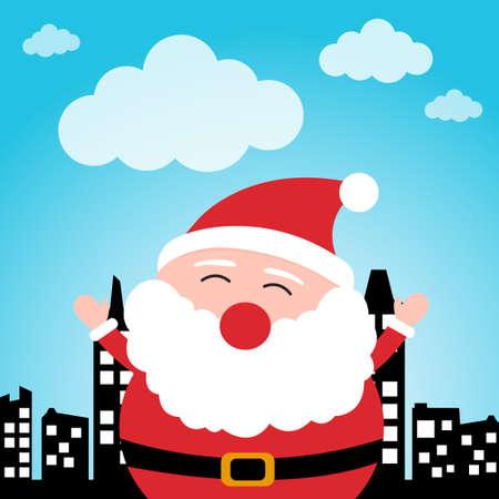 Happy Santa Claus in the city Stock Vector - 19097503