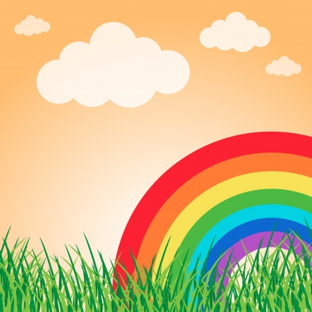 Summer landscape with rainbow Stock Vector - 20243037
