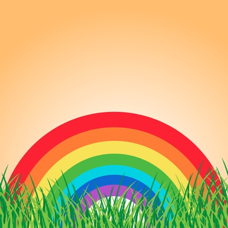 Summer landscape with rainbow Stock Vector - 20985272