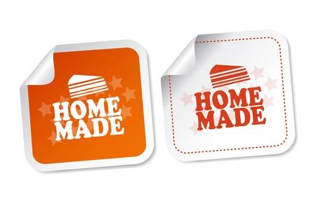 homemade cake: Home Made Stickers Illustration