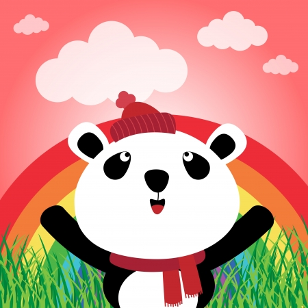 catoon: Panda with rainbow in the forest
