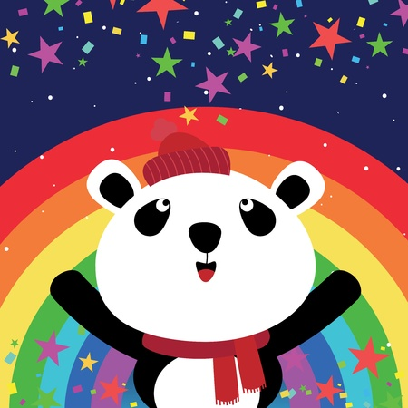 Panda and rainbow in the night sky Vector