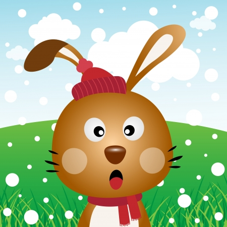 forest clipart: Rabbit with snow in the forest