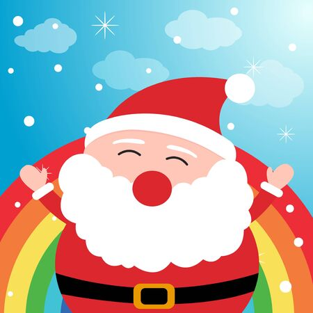santa clause: Santa Claus in the sky with rainbow