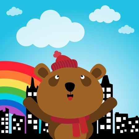 Brown bear and rainbow in the city Illustration