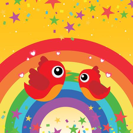 Birds in love with rainbow Illustration