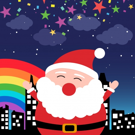 Santa Claus in the city at night Vector