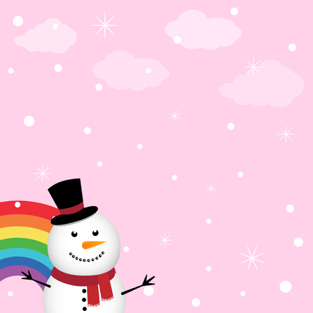 Happy snowman in the sky with rainbow Illustration