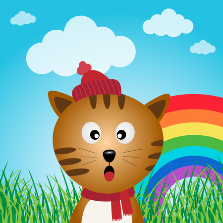Cat in the forest with rainbow Vector