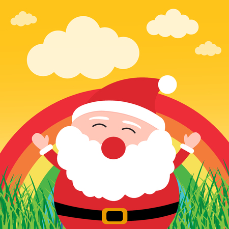 Santa Claus with rainbow in the forest Vector