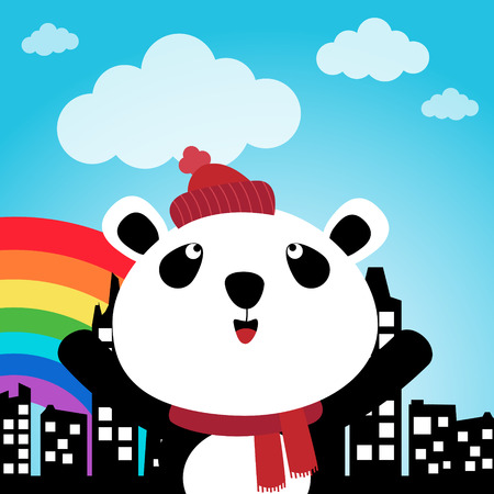 Panda in the city Vector