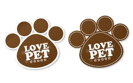 puppy love: Pegatinas de la pata con el texto encanta mascota y las estrellas