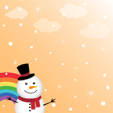 Happy snowman in the sky with rainbow Vector