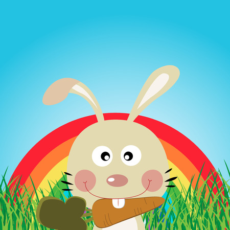 forest clipart: Rabbit with rainbow