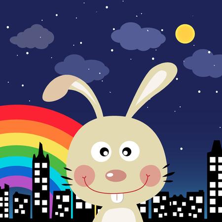 Rabbit in the city at night Illustration