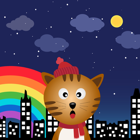 Cat in the city at night with rainbow Vector