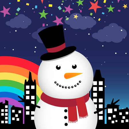 Happy snowman in the city at night