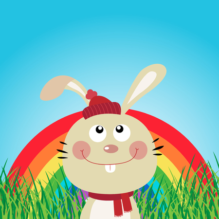 Rabbit in the forest with rainbow Vector