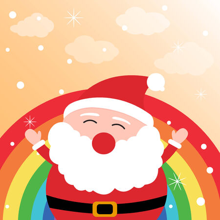 Santa Claus in the sky with rainbow Vector