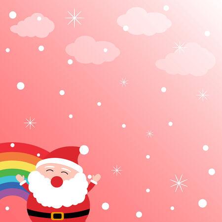 rainbow sky: Santa Claus in the sky with rainbow