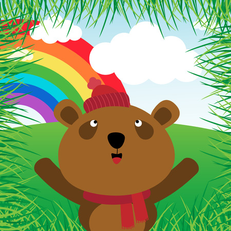 catoon: Brown bear with rainbow in the forest