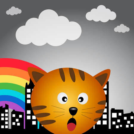 Cat in the city with rainbow Vector