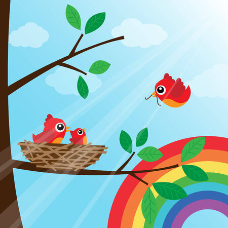 Family bird feeding with rainbow