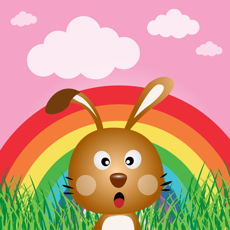 bunny rabbit: Rabbit with rainbow in the forest