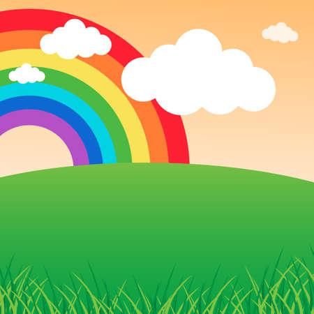 rainbow: Paisagem do ver�o com um arco-�ris