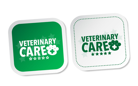 veterinary care: Veterinary care stickers Illustration