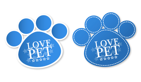 Paw print stickers with text Love pet