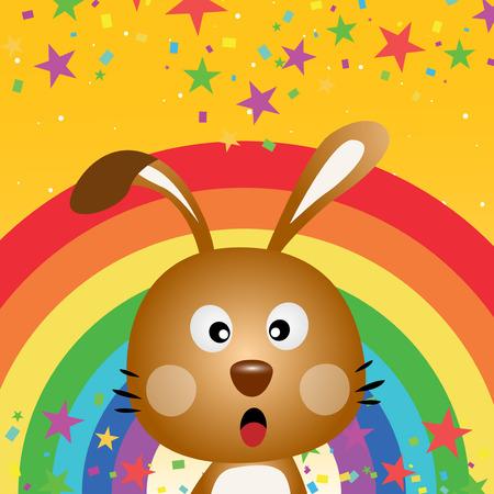 rainbow sky: Rabbit in the sky with rainbow