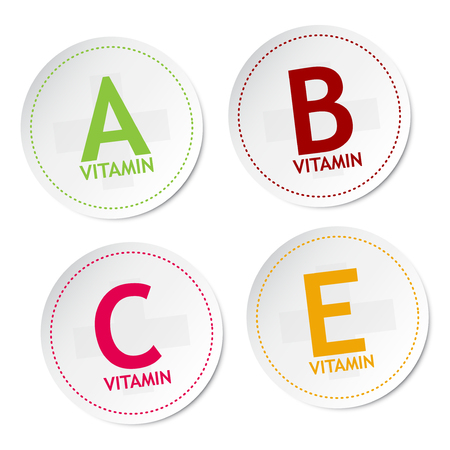 Vitamin A B C and E stickers