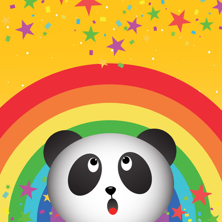 Panda in the sky with rainbow Vector