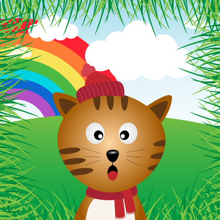 Cat in the forest with rainbow Illustration