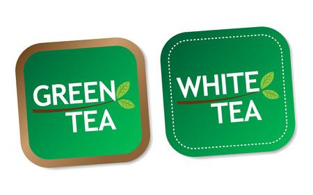white tea: Green tea and White tea stickers