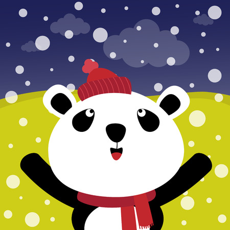 snow forest: Panda with snow in the forest