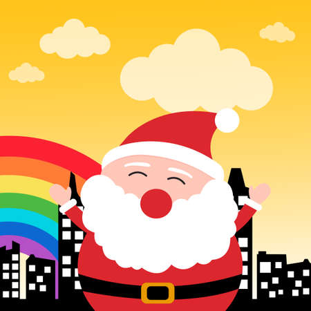 Happy Santa Claus in the city
