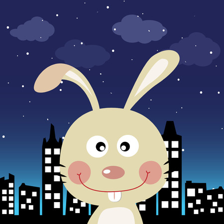 Rabbit in the city at night Illustration