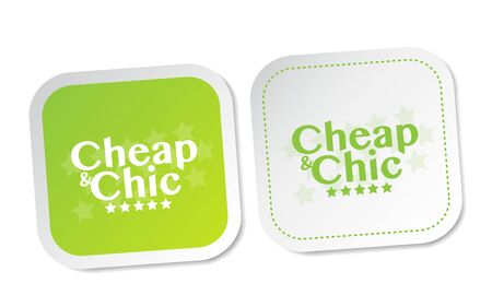 branded product: Cheap and Chic stickers Illustration