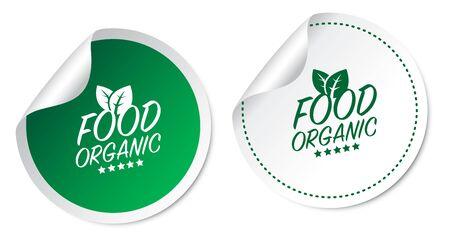 Food Organic Stickers Foto de archivo - 134585121