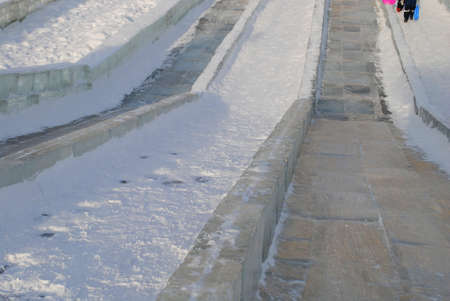 ice slide in winter