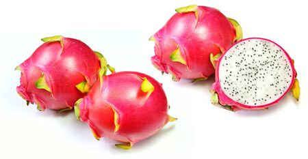 Red dragon fruits on white background.