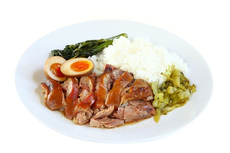 Still life photography of food : Stewed leg pork with sweet gravy sauce style chinese food served with steamed rice. Selective and shift focus. Shooting in studio, Clean food good taste idea concept.