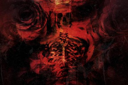 Multiple exposure, Roses, skull and  skeleton for Halloween background. Stock Photo