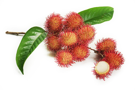 Rambutan isolated on white background. This image stacked for advertising. The tropical fruits ideas concept. Stockfoto