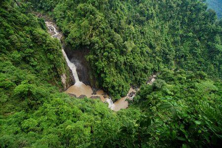 Bird eye view of The great of beautiful waterfall in Thailand. Haew Narok Waterfall or Heo Narok Waterfall at Khao Yai National Park, Thailand